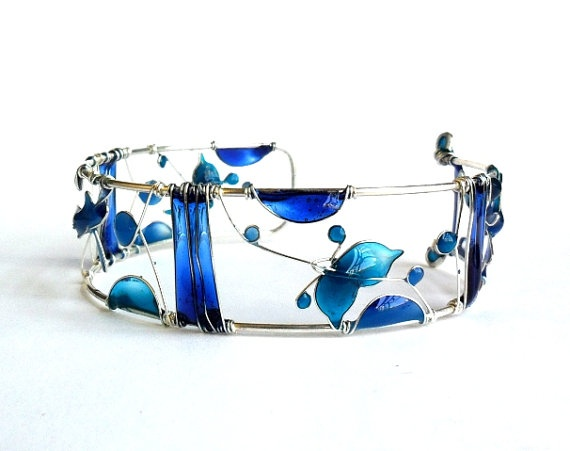 Blue Sea Bracelet by ThePurpleBalloon on Etsy, $60.00