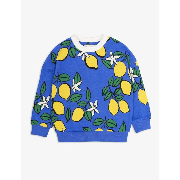 Mini Rodini Oh La La Spring-Summer '18 | Blue sweatshirt with an all-over print of lemons. Made of organic cotton and Micromodal®.