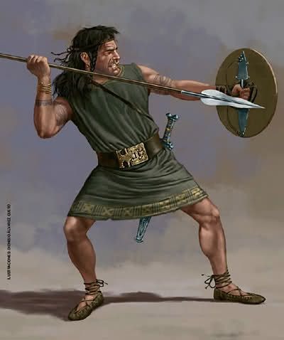 An Iberian Caetratus, with very light equipment. He has no armor, but he carries the normal shield and set of weapons.