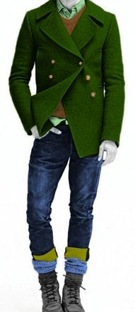 Green coat for winter