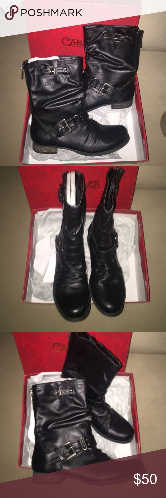 Carlos Santana Boots AUTHENTIC Black 7 1/2 Cute Carlos Santana boots I found hiding in the back of my storage closet! Brand new! Size 7 1/2, Black, zipper in back, easy slide on as well! Carlos Santana Shoes Combat & Moto Boots