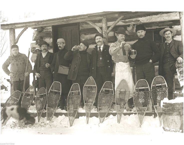 Old Time Snowshoe Hunting Photo Vintage Snowshoes Beer ...