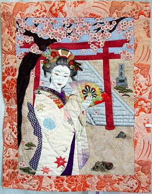 """Memoirs of a Geisha"" The quilt was inspired by a trip to Japan and the textiles used in vintage clothing. Gorgeous!! See more Asian quilt fabrics like this at: http://www.debsews2.com/"