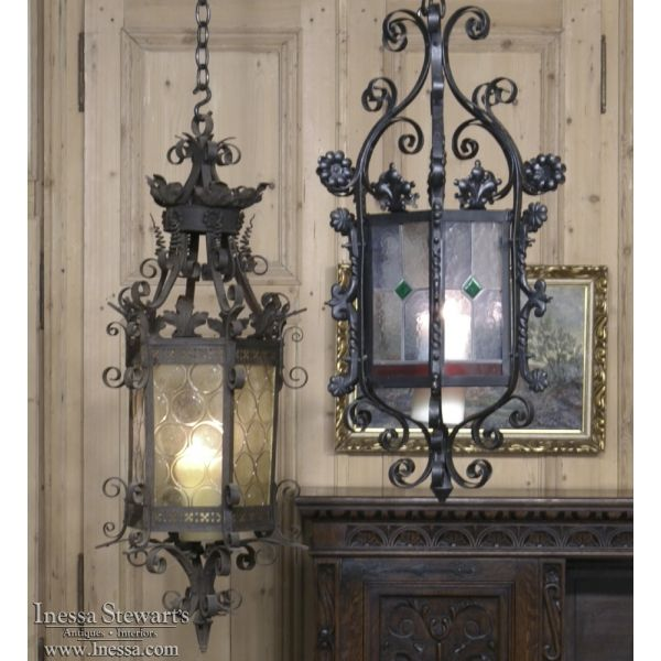 30 best antique home decor images on pinterest antique furniture antique home decor antique chandeliers wrought iron lantern chandelier with stained glass www aloadofball Image collections