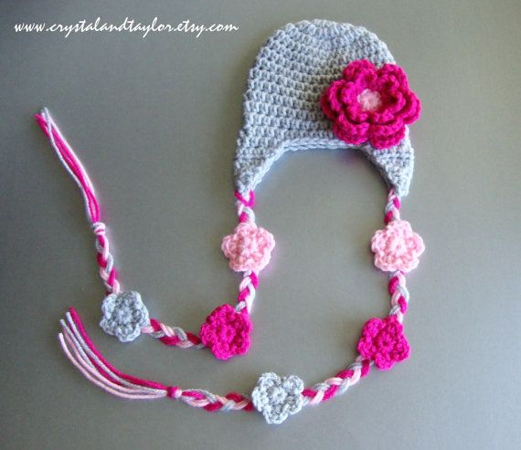 Sale, Baby Girl Crochet Hat with Earflaps and Flowers - Light Gray, Pink, and Light Pink - Newborn, Toddler, Infant Sizes Available