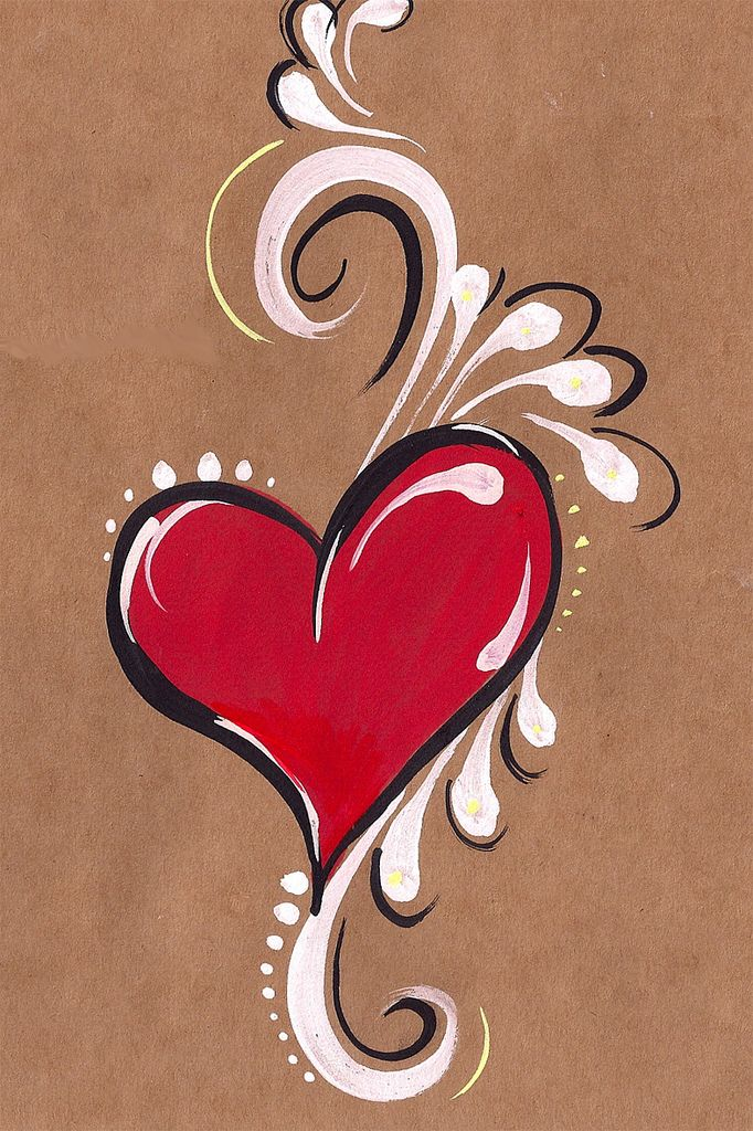 heart painted on brown paper