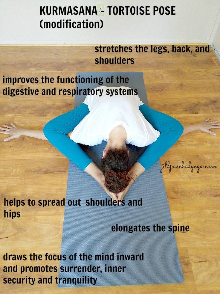 Kurmasana:  Esta es una modificación de la postura de la Tortuga, Las piernas están flexionadas y  la frente al piso... Cuando usted comienza a practicar Kurmasana, se torna tranquilo, centrado   La postura requiere   piernas a la tierra y la encorvadura de la espalda como una cáscara. Cuando su atención se mueve hacia su interior, usted experimenta Pratyahara, o el retiro de los sentidos, que es el quinto de los ocho puntos del  Yoga Clásico que se describe en los Yoga Sutras de .Patanjali