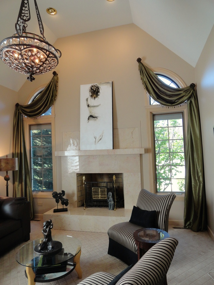 122 best images about drapery medallions on pinterest for Modern living room window treatments