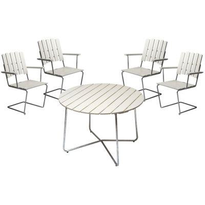 4 st fåtölj A2 + bord 9A 100 cm, vitlack i gruppen Utemöbler / Utemöbler / Grupper / 4 sittplatser hos RUM21.se (Grythyttan5)