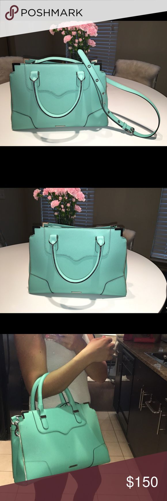 Rebecca Minkoff Amorous Purse Mint color Rebecca Minkoff purse for sale! In really good condition and barely worn. This is a great summer bag and I always get many compliments on it when I wear it. I'm selling because I have other bags that I find myself wearing a lot more. This has a long adjustable strap to wear many ways! Rebecca Minkoff Bags Totes