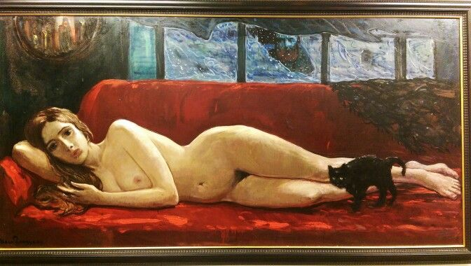 ILYA SERGEEVICH GLAZUNOV Обнаженная на красном диване 1986  Nude оп the Red Sofa. 1986