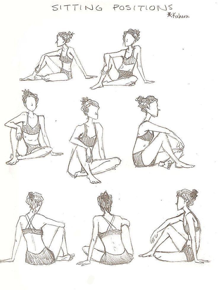 Leute Die Sitzende Haltungen Zeichnen Skizzen Frau Die Auf Seiten Skizzen Vorlagen Liegt Sitzende Posen Zeichnung Referenz Aktzeichnen