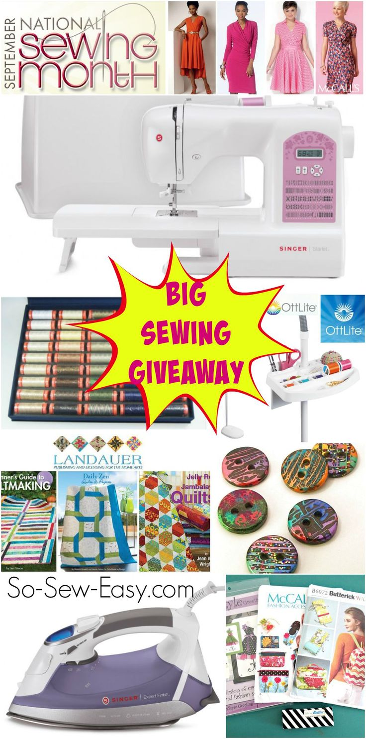 Huge sewing giveaway for National Sewing Month over on So Sew Easy.  Win a sewing machine, iron, fabric, books, thread, patterns, OTT lite, and lots more.  Closes 30 Sept.