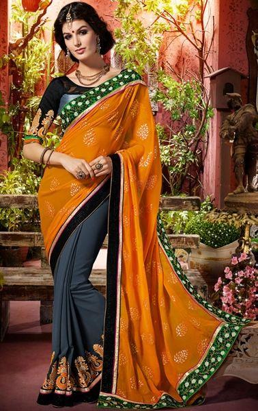 Picture of Elegant Grey and Orange Designer Saree