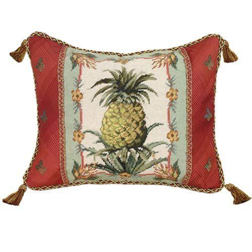 Pineapple Needlepoint Pillow 16 X 20 Pillow 123creations Accent Pillows Throw Pillows Bedd