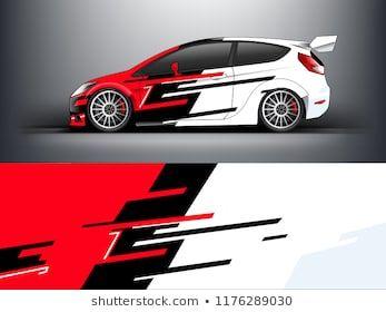 Rennwagen Wrap. roter abstrakter Streifen für Rennwagenverpackung, Aufkleber und Abziehbild. vec …   – Logos TS