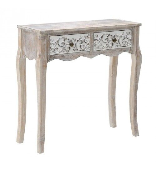 WOODEN CONSOLE W_2 DRAWERS IN NATURAL_WHITE COLOR 78_5X30X78_5