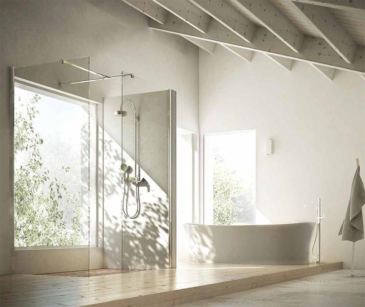 Box #doccia con apertura walk-in angolare, composto da 2 pareti in vetro #temperato, barra stabilizzatrice angolare e profilo in #alluminio anodizzato