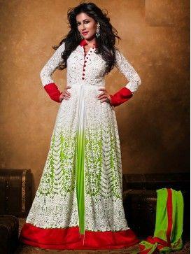 White with parrot green designer Anarkali Salwar Kameez Suit with Long Dress