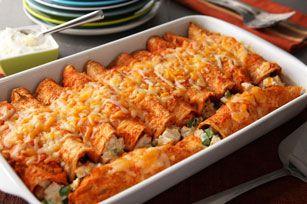 Enchiladas rouges au poulet crémeux