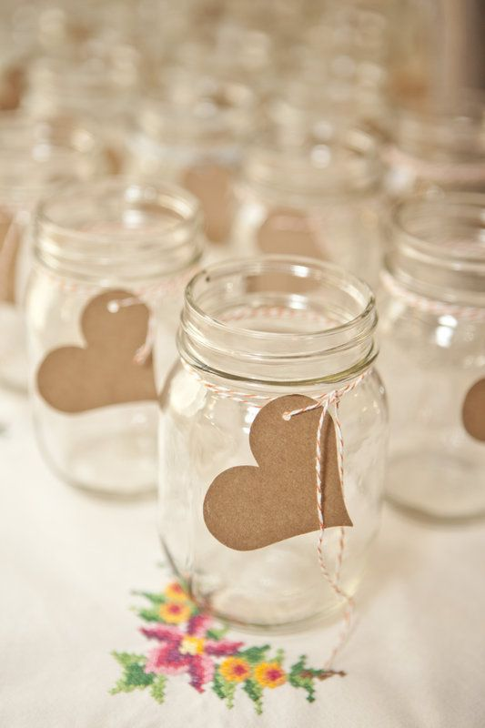 Mason jars with tags for people to write their names on. Photo By Mandy Owens Photography