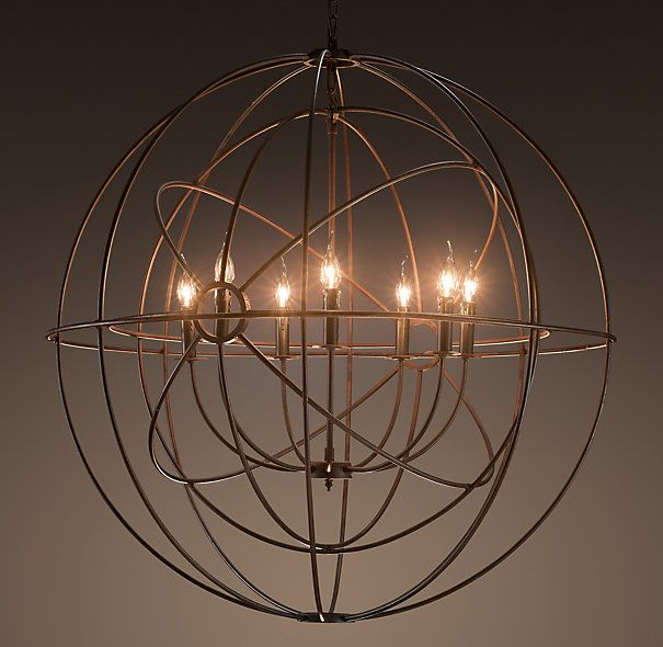 """FOUCAULT'S TWIN-ORB CHANDELIER RUSTIC IRON - DIMENSIONS  Overall: 40½"""" diam., 41""""H  Adjustable Chain: 24""""L (included)  Weight: 18 lbs.  Box Dimensions: 45"""" sq., 44""""H -   $1795"""
