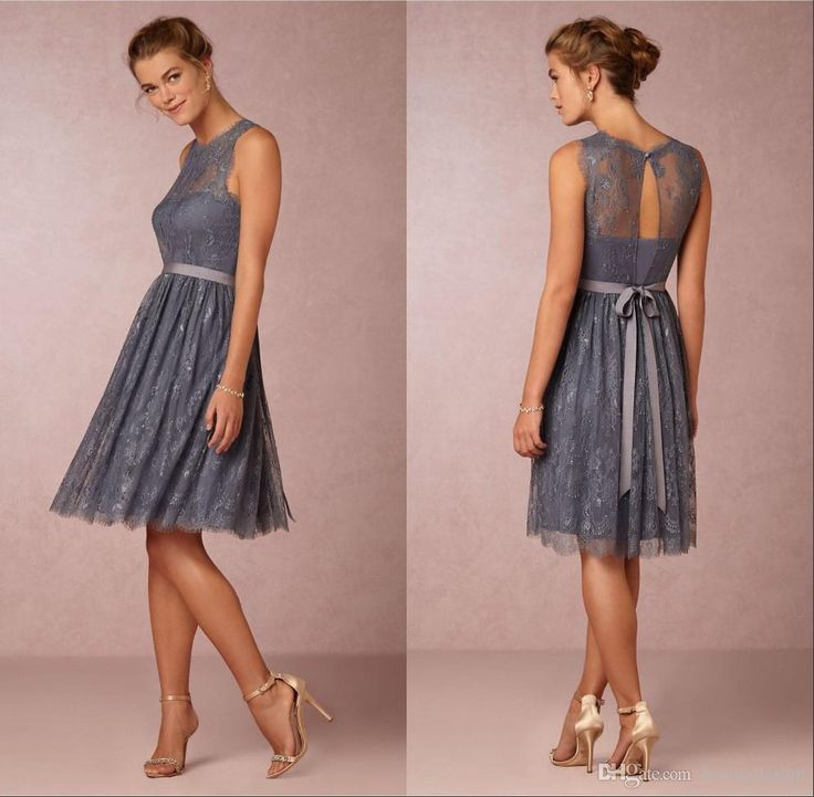 Cheap 2016 Short Knee Length Bridesmaid Dresses A Line Sash Grey Lace Bridesmaids Gowns Vintage Wedding Guest Party Dresses Bridesmaiddresses Charcoal Grey Bridesmaid Dresses From Beautydesign, $111.81| Dhgate.Com