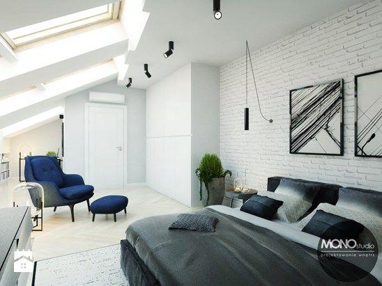 Przytulna sypialnia z wykorzystaniem cegły - zdjęcie od MONOstudio
