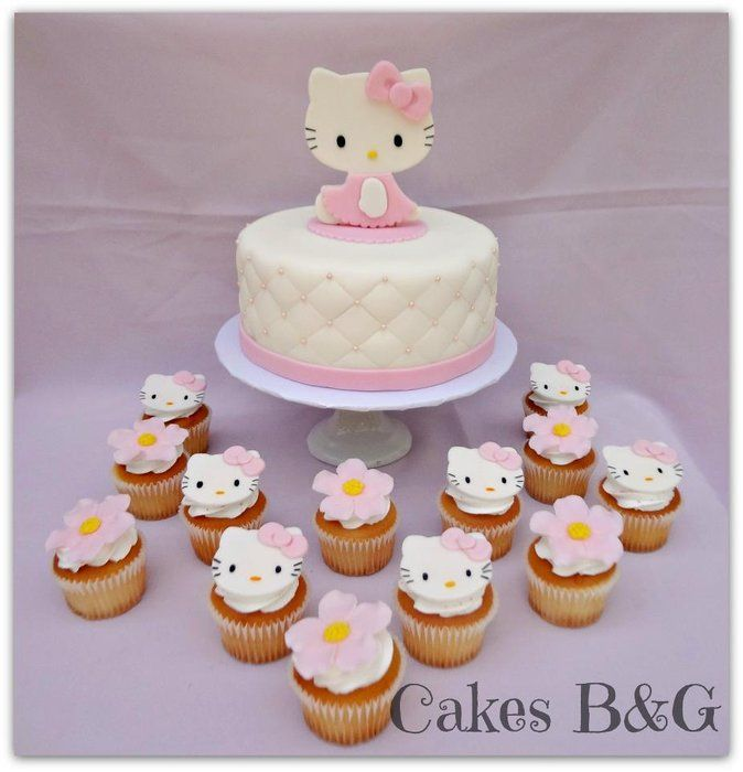 Hello Kitty cake and cupcakes - by cakesbg @ CakesDecor.com - cake decorating website