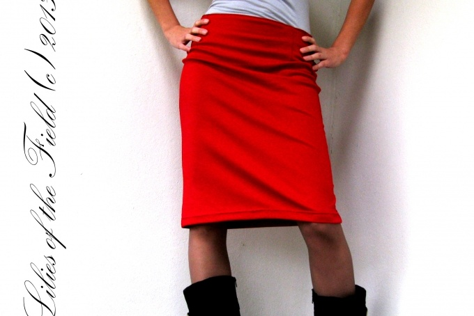 Tomato Red Pencil Skirt