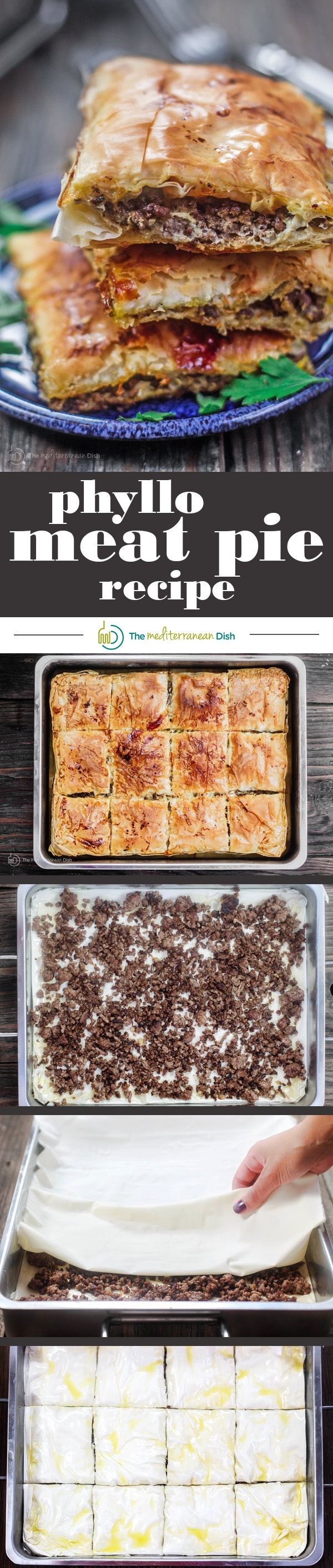 Phyllo Meat Pie Recipe (Egyptian Goullash) | The Mediterranean Dish. Spiced ground beef nestled in between layers of crispy, flaky, buttery phyllo dough! Recipe comes with step-by-step photos. An easy dinner with a big wow factor!
