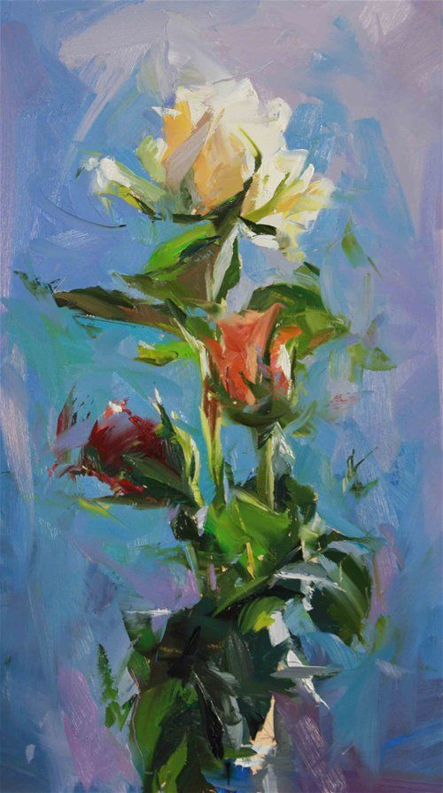 Roses ~ Paul Wright--these painted roses VIBRATE with movement and light. Fabulous!