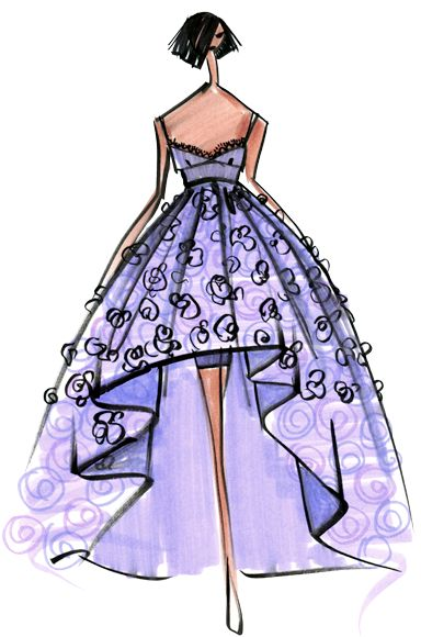 Designer Sketch by Emilio Sosa - PANTONE Violet Tulip Spring 2014 Pantone Fashion Color Report #FCRS14 #pantone @Emilio Sosa