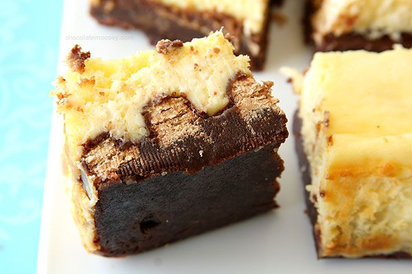 Kit Kat Cheesecake Brownies from Chocolate Moosey. These look insanely decadent and oh so tasty!
