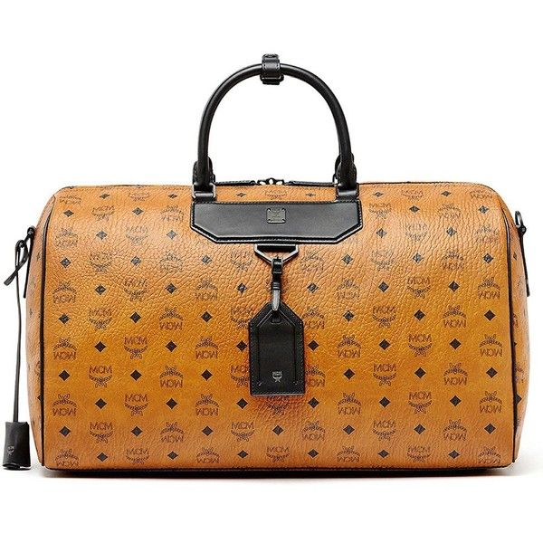 MCM Nomad Canvas Weekender ($1,330) ❤ liked on Polyvore featuring men's fashion, men's bags, apparel & accessories, cognac, mens overnight travel bag, mens travel bag, mens canvas bags, mens weekender bag and mens canvas overnight bag