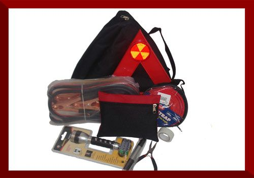 Emergency Breakdown Kit   Dimensions: 35cm x 33cm x 12cm  1 x Warning Triangle 1 x Jumper Cables 1 x Tow Rope 1 x Torch, 1 x Pliers 1 x Screw Driver 1 x Electrical Tape 1 x Anytime First Aid Kit