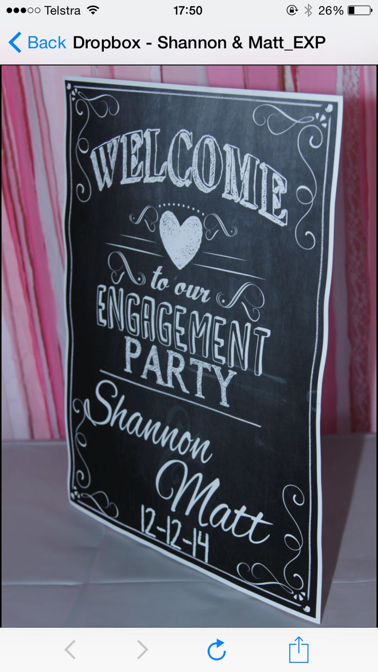 Custom Chalkboard sign purchased off etsy and printed on A2 paper on a canvas board behind