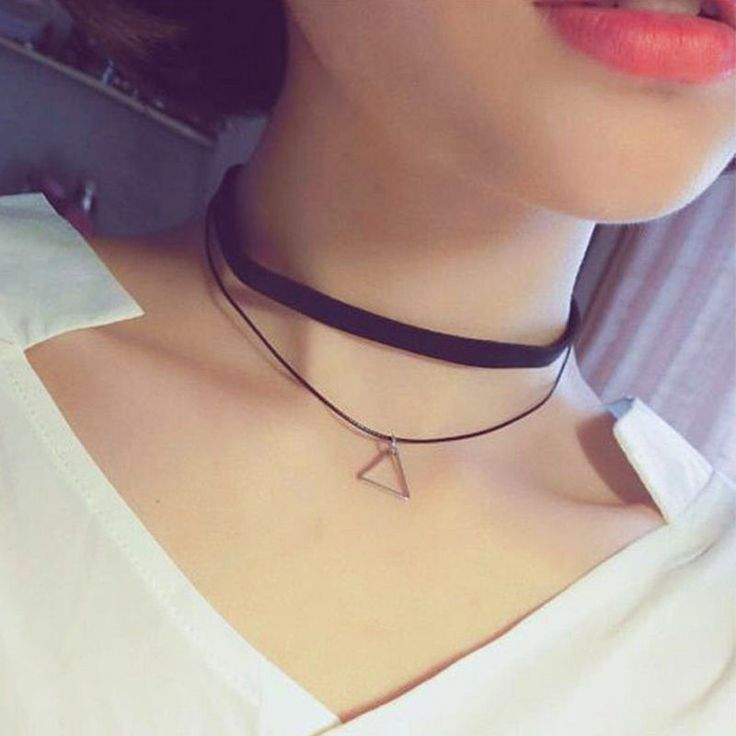 Steampunk 2 Layered Silver Triangle Necklace Women Simple Style Black Short Chocker Necklaces For Women Bijoux Femme Jewelry