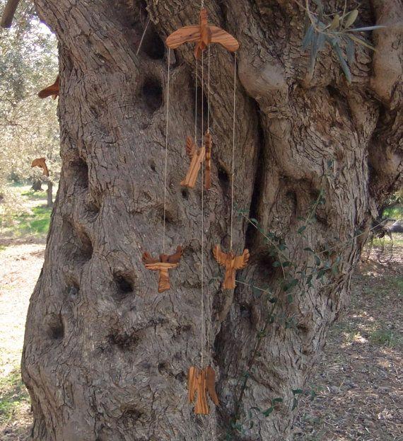 Guidian  Angel Mobile hand made from olive wood by ellenisworkshop