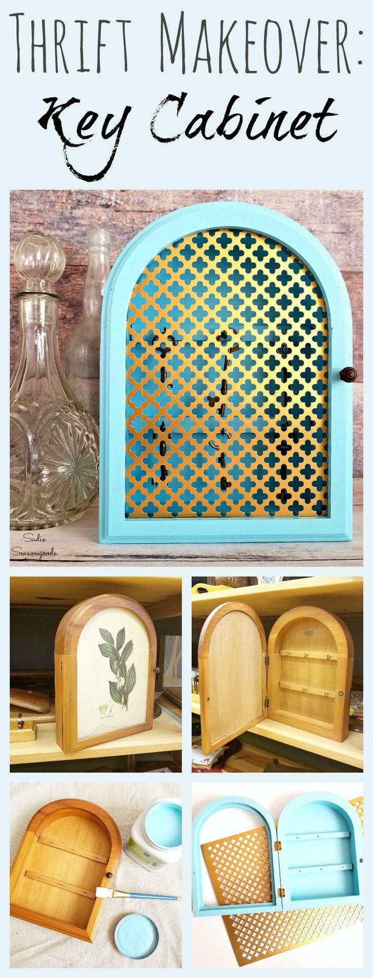 How to transform a Vintage Key Hook Cabinet with paint and decorative metal sheet insert by Sadie Seasongoods / www.sadieseasongoods.com