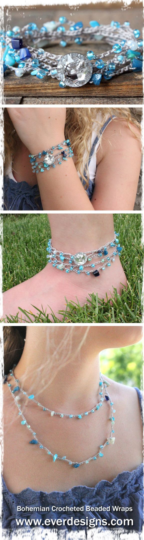 "Bohemian crocheted wrap by Ever Designs ~ Necklace, Bracelet and Anklet all in one ~ ""Mermaid""  #bohochic #jewelry #summer"
