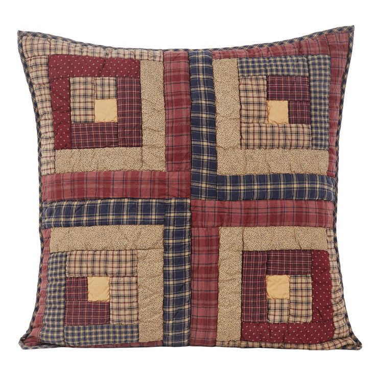 "The Millsboro Shams feature log cabin blocks in burgundy, rust, navy and tan flanked with navy check fabric. 100% cotton batting. Reverses to tan with navy flecks fabric. 3"" overlap to conceal pillow"