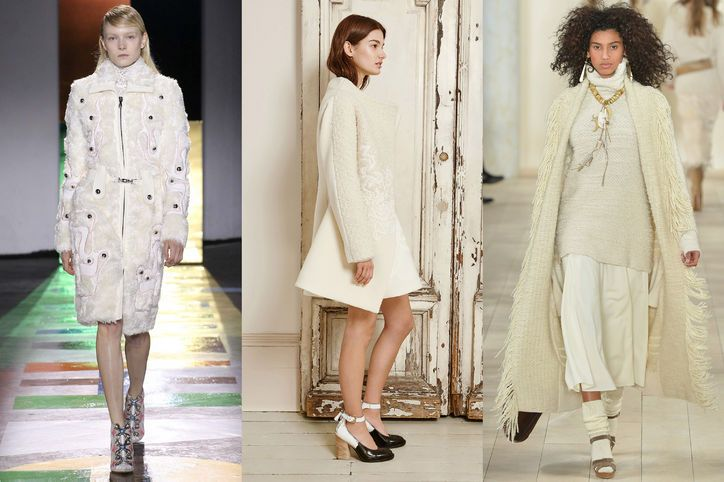 Fall 2015's Most Wearable Fashion Trends: Winter Cream  (Shown: Peter Pilotto, Mulberry, Ralph Lauren) - Glamour.com