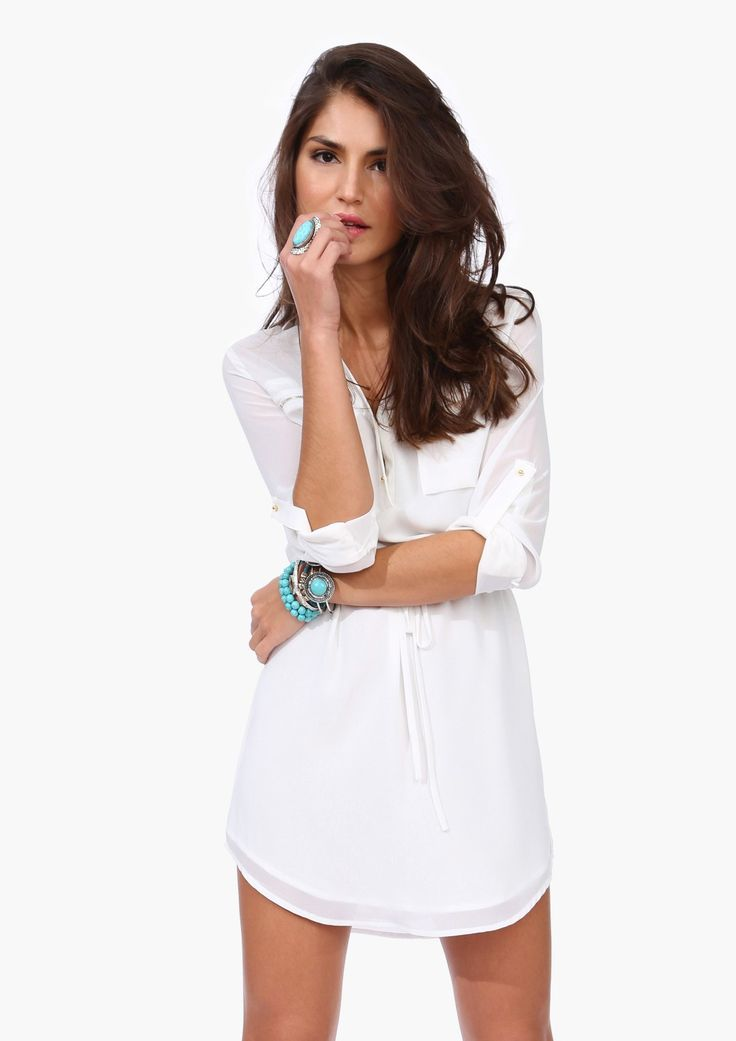 T-shirt dress and chunky jewelry
