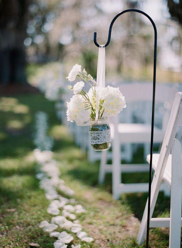 Flowers in Mason Jar on Shepherds Hook | photography by http://www.lexiafrank.com/