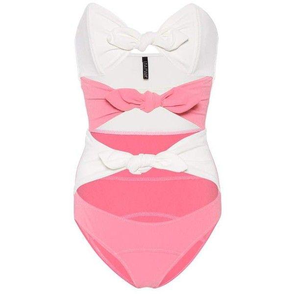 Lisa Marie Fernandez Triple Poppy Swimsuit ($605) ❤ liked on Polyvore featuring swimwear, one-piece swimsuits, pink, swimming costume, one piece swimsuit, pink swim suit, swim suits and pink bathing suits