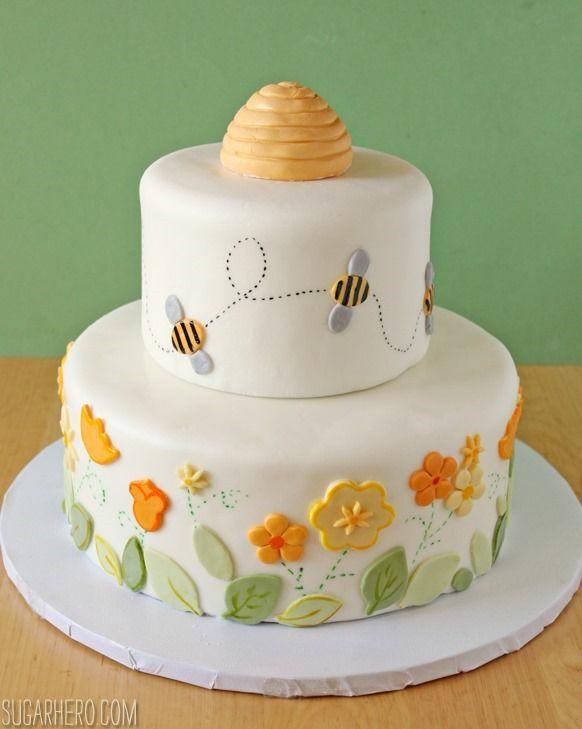 Bumblebee Cake: lemon layer cake with lemon buttercream. Perfect for kid's birthdays and showers! From SugarHero.com