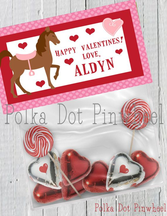 Horse Valentines Goodie Bag Printable by PolkaDotPinwheel on Etsy, $5.00