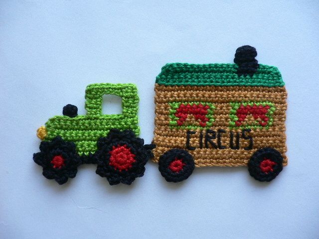 Traktor+mit+Circuswagen+-+Häkelapplikation+von+Spielkiste+auf+DaWanda.com
