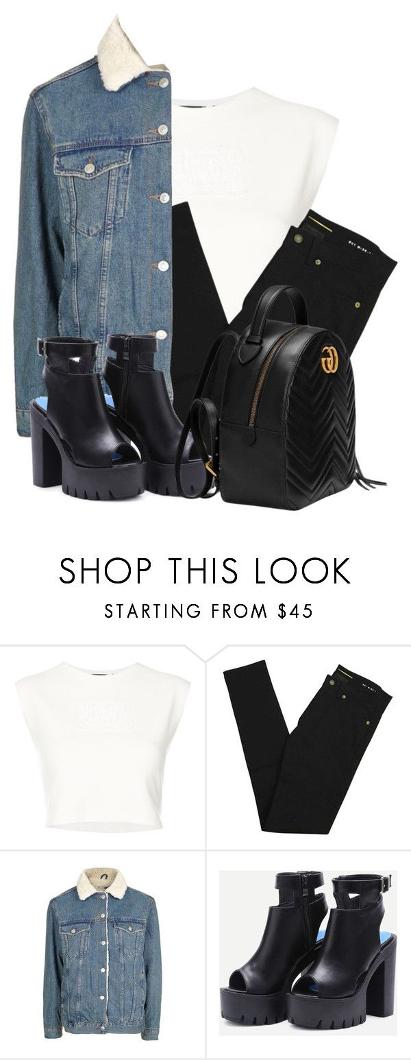 """Mix and Match with Oversize Denim Collar Jacket"" by salbiylaazzara-fashion on Polyvore featuring Puma, Yves Saint Laurent, Topshop and Gucci"